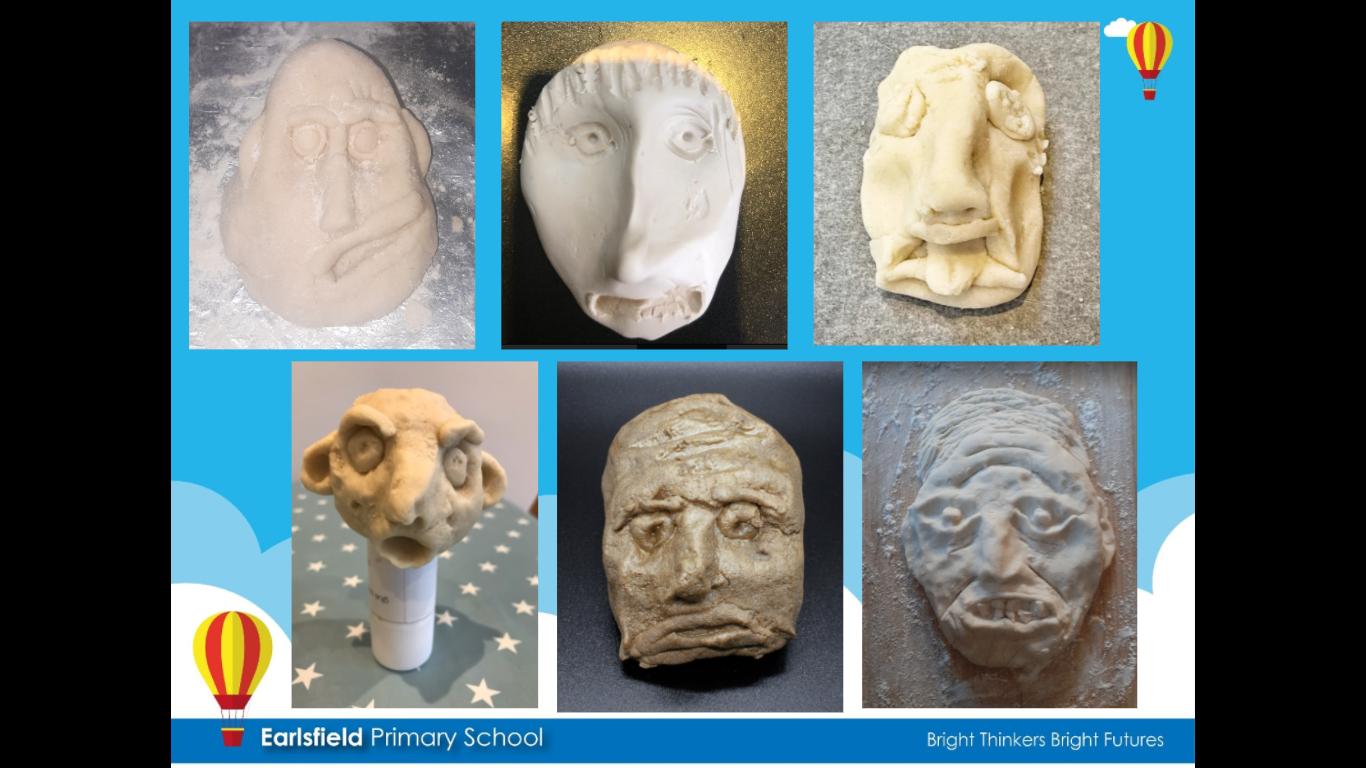 Earlsfield Primary school clay heads inspired by Kollwitz